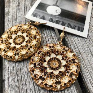 Anthropologie Gold Medallion Drop Earrings